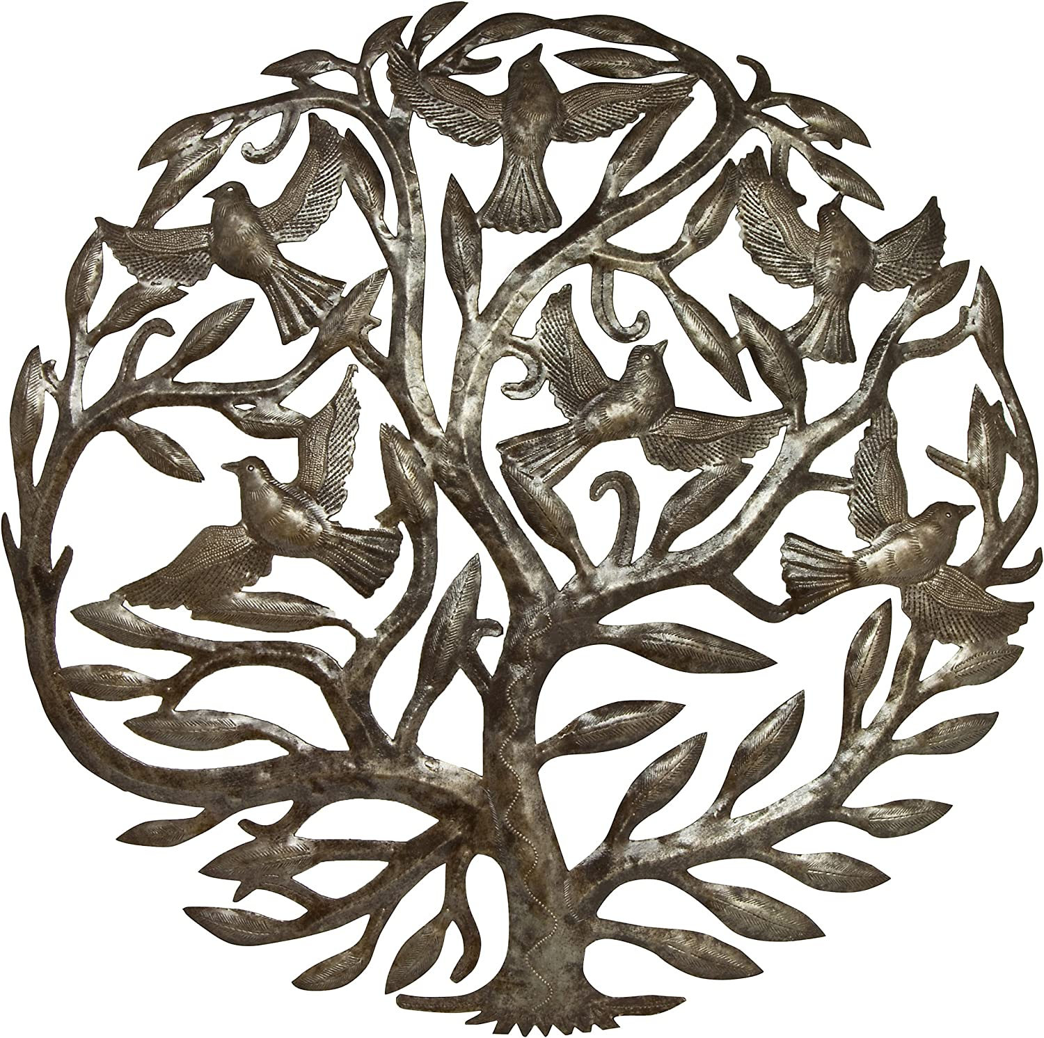 "Global Crafts 24"" Recycled Handmade Haitian Metal Wall Art Tree of Life with Birds, Classic"