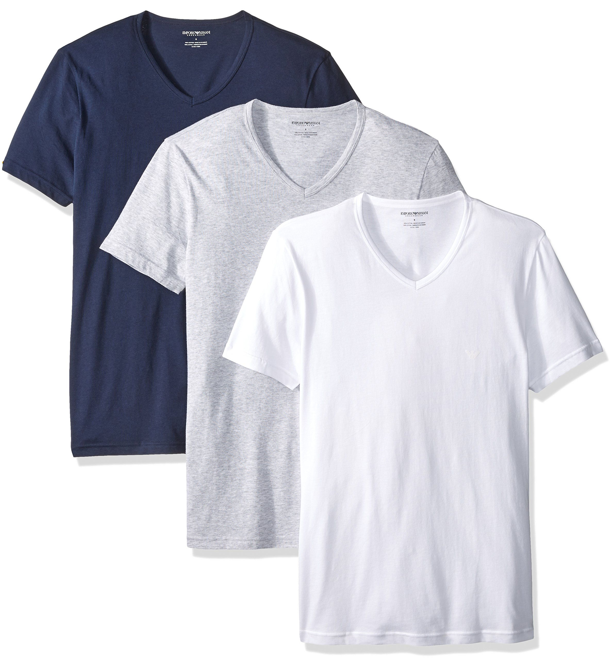 58ec9bdd9 Galleon - Emporio Armani Men's Cotton V-Neck Undershirts, 3-Pack, Grey/White /Navy, Small