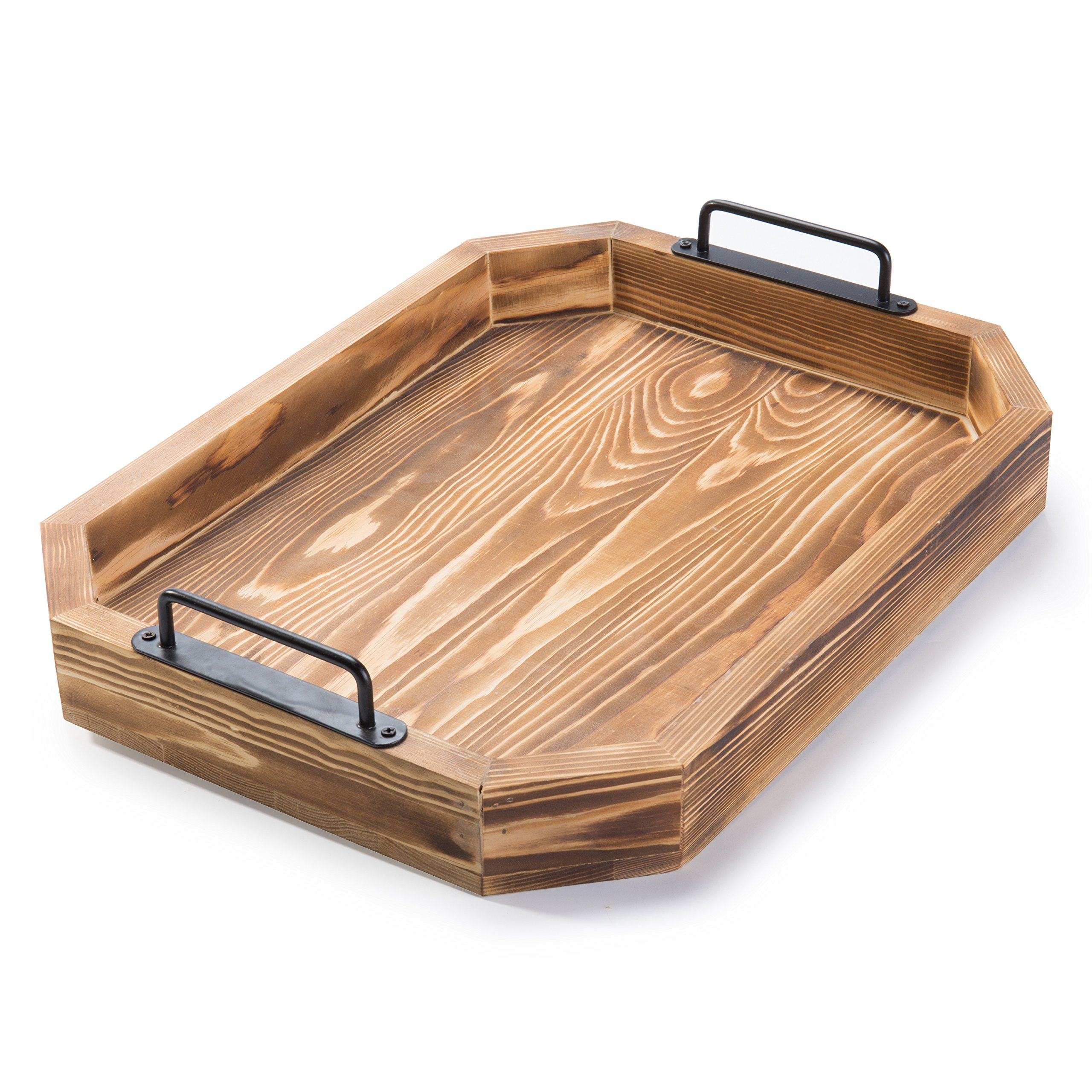 MyGift Rustic Burnt Wood 16-Inch Serving Tray with Metal Handles