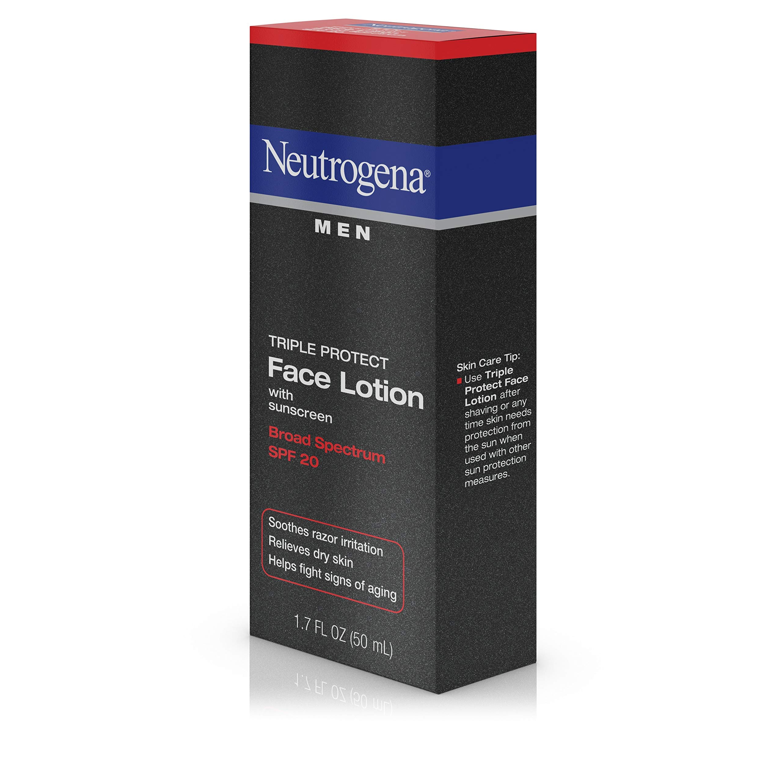 Neutrogena Triple Protect Men's Daily Face Lotion with Broad Spectrum SPF 20 Sunscreen, Moisturizer to Fight Aging Signs, Soothe Razor Irritation & Relieve Dry Skin, 1.7 fl. Oz (Pack of 2) by Neutrogena (Image #9)