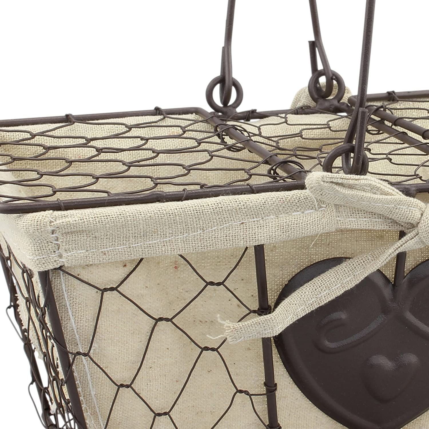Stonebriar Farmhouse Metal Basket with Heart Details and Lid