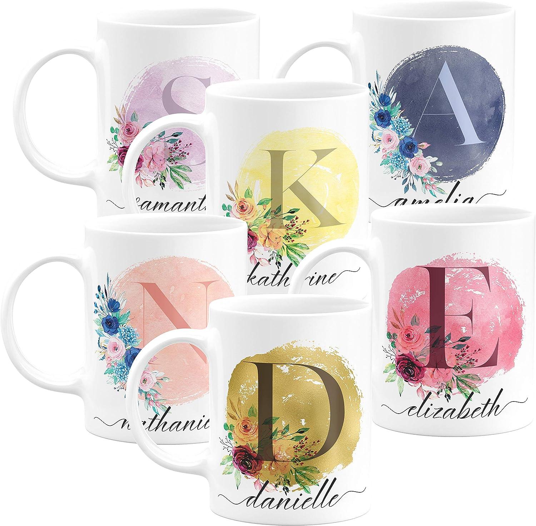 Coffee Mug Personalized Mug Peony Floral Cup Single Initial Monogram