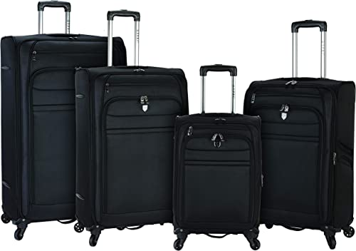 Travelers Club Business Class Expandable Spinner Luggage, Executive Black, 4 Piece Set 20 24 28 32