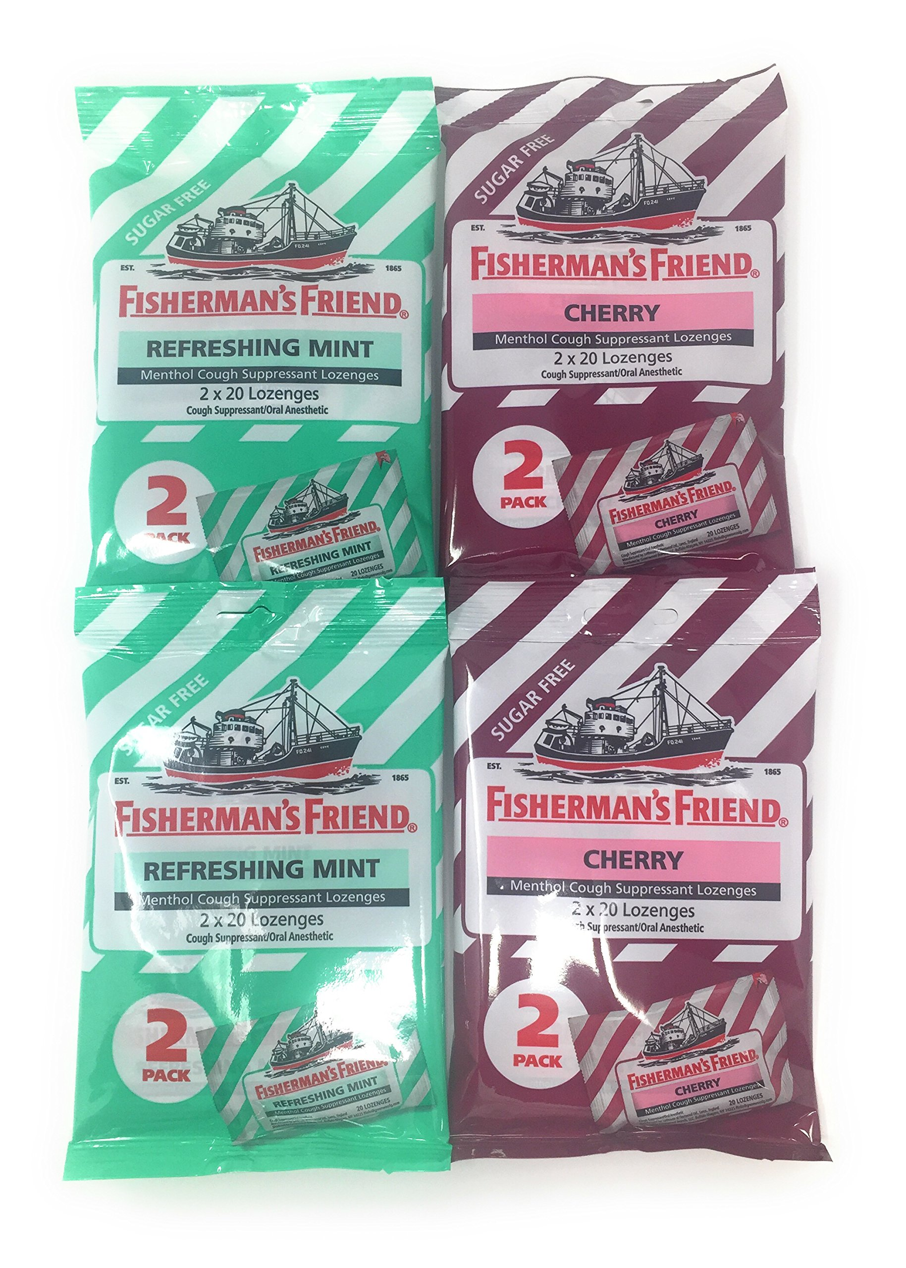 Sugar Free Fisherman's Friend Lozenges, Refreshing Mint & Cherry Cough Suppressant Lozenges, 40-Count Bags (2 Packs of Each Flavor)