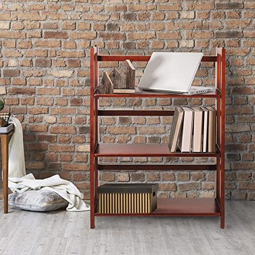 MISC Mahogany Wide Folding Bookcase Collapsible Book Case 3 Shelf Fold Up Wooden Stylish Review