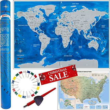 Scratch off World Map- Póster de viaje Deluxe Edition ...