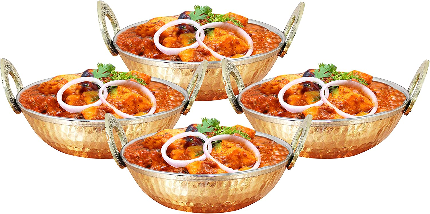 SKAVIJ Heat Insulated Double Wall Karahi Copper Stainless Steel Serving Bowl (12 Ounce, Pack of 4)