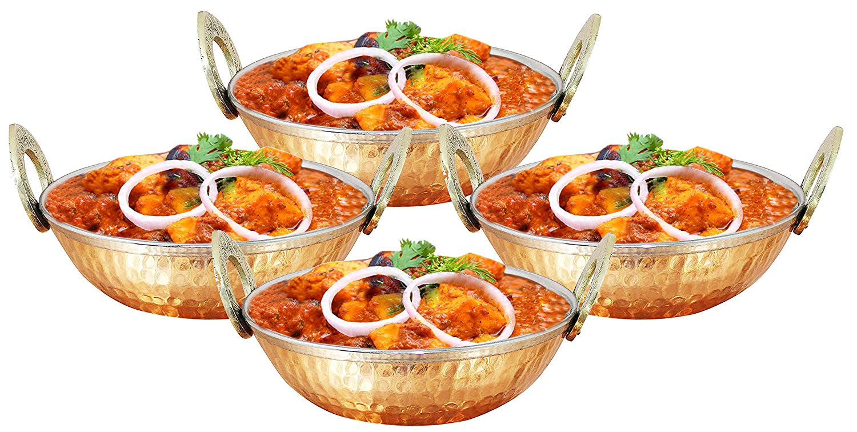 Recipientes de acero inoxidable de 350 ml de cobre utilizados como tazón de cereal, cuenco de arroz, bol de fideos, tazón de helado, conjunto de 4, ...