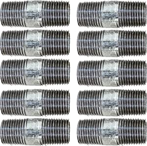 """CMI Inc 1/2"""" X 2"""" 10 Pack Industrial Galvanized Steel Pipe Nipple, Pipe Connector For Vintage DIY Furniture Home Pipe Decor,1/2 Inch Galvanized Threaded Pipes and Pipe Fittings (1/2"""" X 2"""")"""