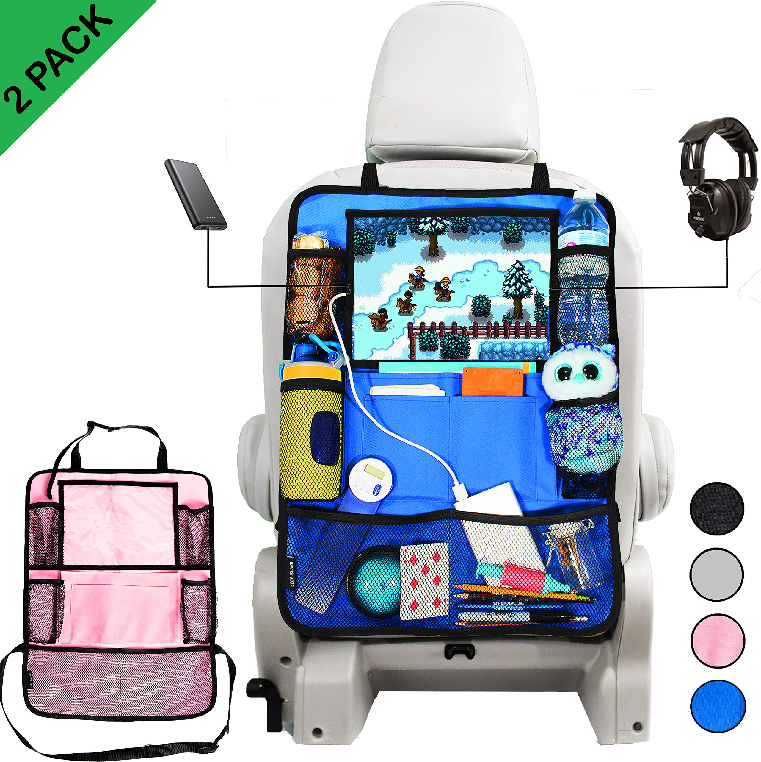 Car Backseat Organizer 10 Storage Pockets including Touchscreen Tablet Holder with 2 Cable slots, Cupholders, Declutter Toys Snacks Books, Kick Mat Seat Protector, For All Ages 2 Pack Pink/Blue by Leef Island