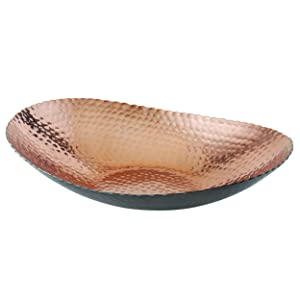 "Elegance 72092 Oval Bowl, 12"" x 8.75"", Black/Copper"
