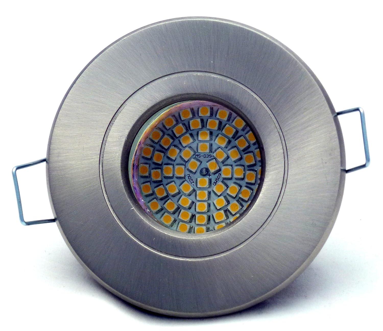 5er Set Feuchtraumstrahler Deckeneinbaustrahler Deckeneinbauleuchte Einbaurahmen Einbaustrahler Einbauspot Einbauring Aquarus 230V IP54 in Edelstahl-gebürstet GU10 10er SMD LED Weiss 3 Watt = 30 Watt