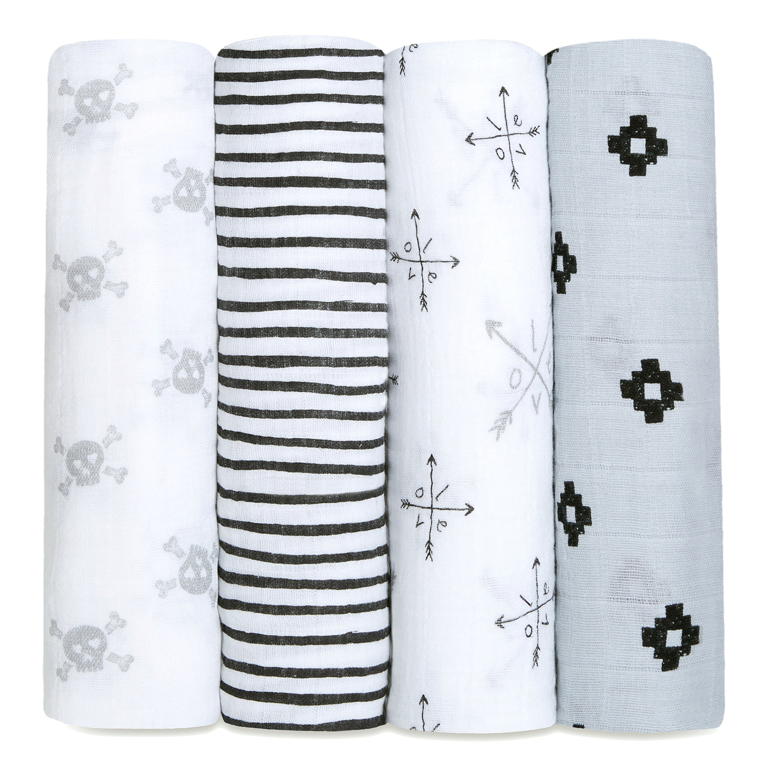 aden + anais Classic Swaddle Baby Blanket, 100% Cotton Muslin, Large 47 X 47 inch, 4 Pack, Lovestruck, Skulls/Arrows / LOVE