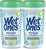 Wet Ones Sensitive Skin Unscented Hand and Face Wet Wipes Canisters, Value Pack, 80-Count