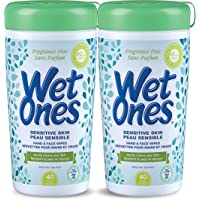 Wet Ones Sensitive Skin Hand Wipes, Unscented, Alcohol-Free Wet Wipes, 40 Count Canister (Pack of 2)