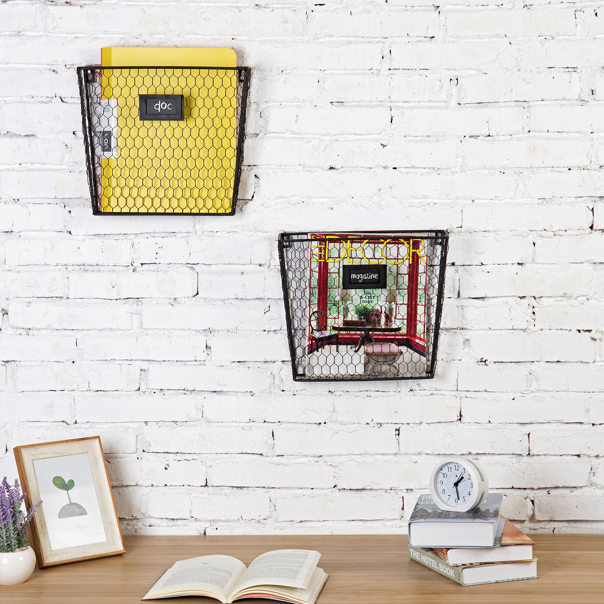 MyGift Rustic Chicken Wire Wall-Mounted Magazine & File Folder Baskets w/Chalkboard Label Inserts, Set of 2 by MyGift (Image #5)