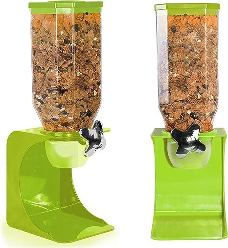 singolo arancione chicchi di caff/è Distributore di cereali in plastica bianca trasparente per alimenti per animali domestici nero singolo colazione