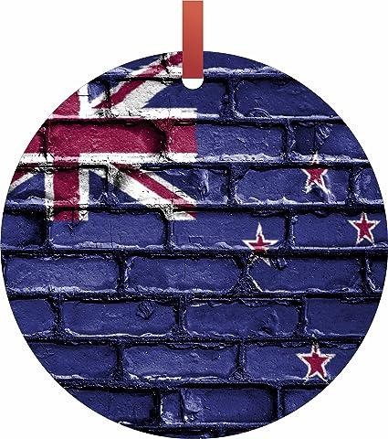 max wilder new zealand brick wall print flag hanging round shaped tree ornament flat