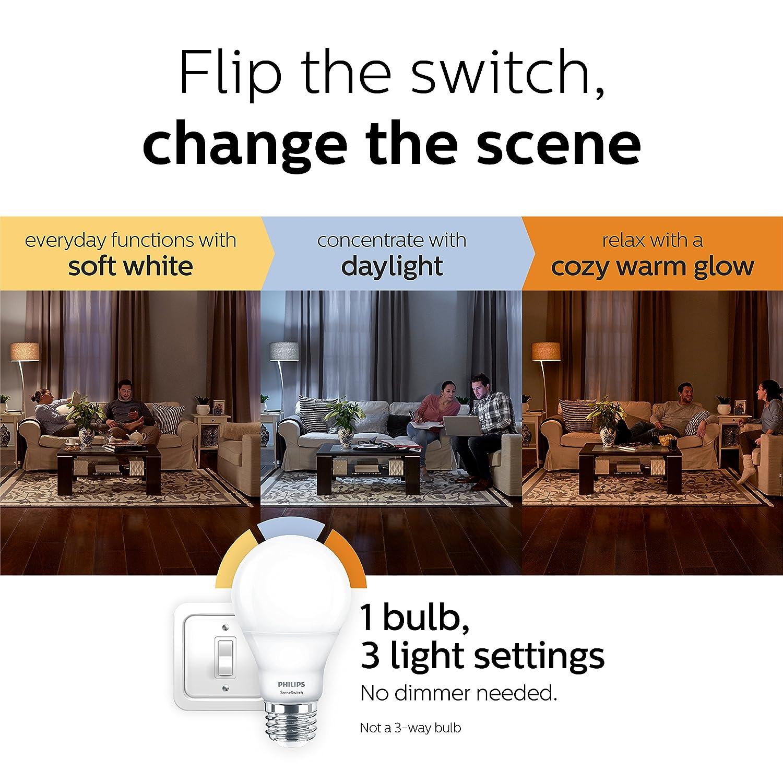 Philips Led A19 Sceneswitch Color Change Light Bulb Daylight Soft 3 Way Switch White Warm Glow 60 Watt Equivalent E26 Base Pack
