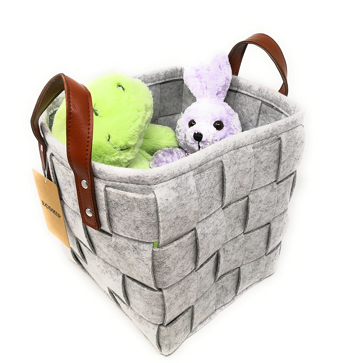 a916f06c1183 ECOHIP 2-Pack Small Felt Woven Storage Basket Decorative Cloth Bins Fabric  Cube