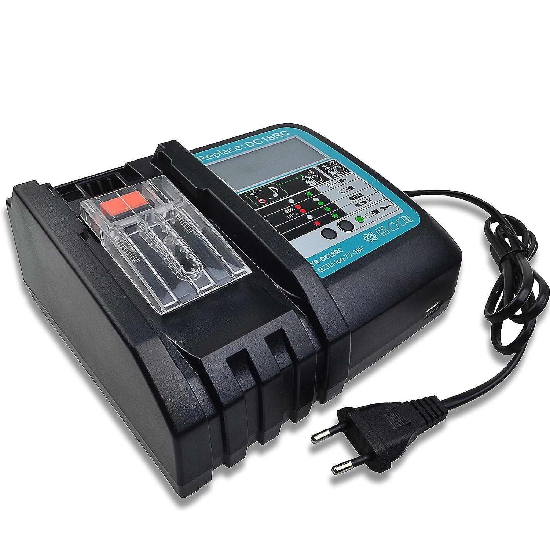 NUEVO Cargador de repuesto con pantalla LCD, puerto USB para 14V hasta 18V MAK DC18RC DC18RA BL1860 BL1850 BL1840 BL1830 bl1820 BL1815 BL1430 BL1450 ...