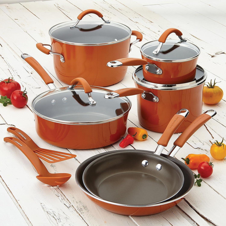 Cranberry Red Meyer 16339 12-Piece Rachael Ray Cucina Hard Porcelain Enamel Nonstick Cookware Set