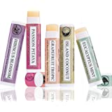 Art Naturals® 100% Natural Lip Balm Beeswax - 6 Pack Assorted Flavors 0.15 oz each - Best Chapstick for Dry, Chapped & Cracked lips - Lip Repair & Therapy with Aloe Vera, Coconut, Castor & Jojoba Oil