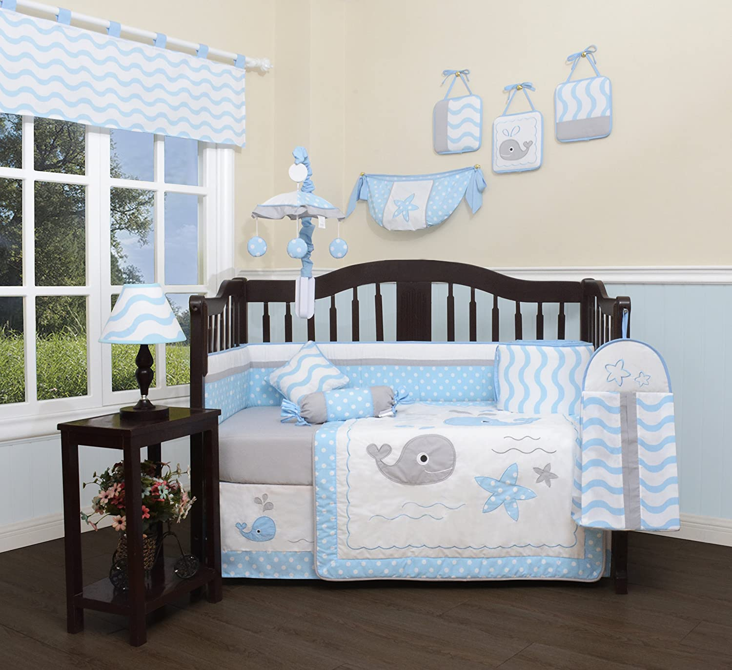 GEENNY Baby Lovely Whale 13 Piece Nursery Crib Bedding Set CRIB-CF-2089