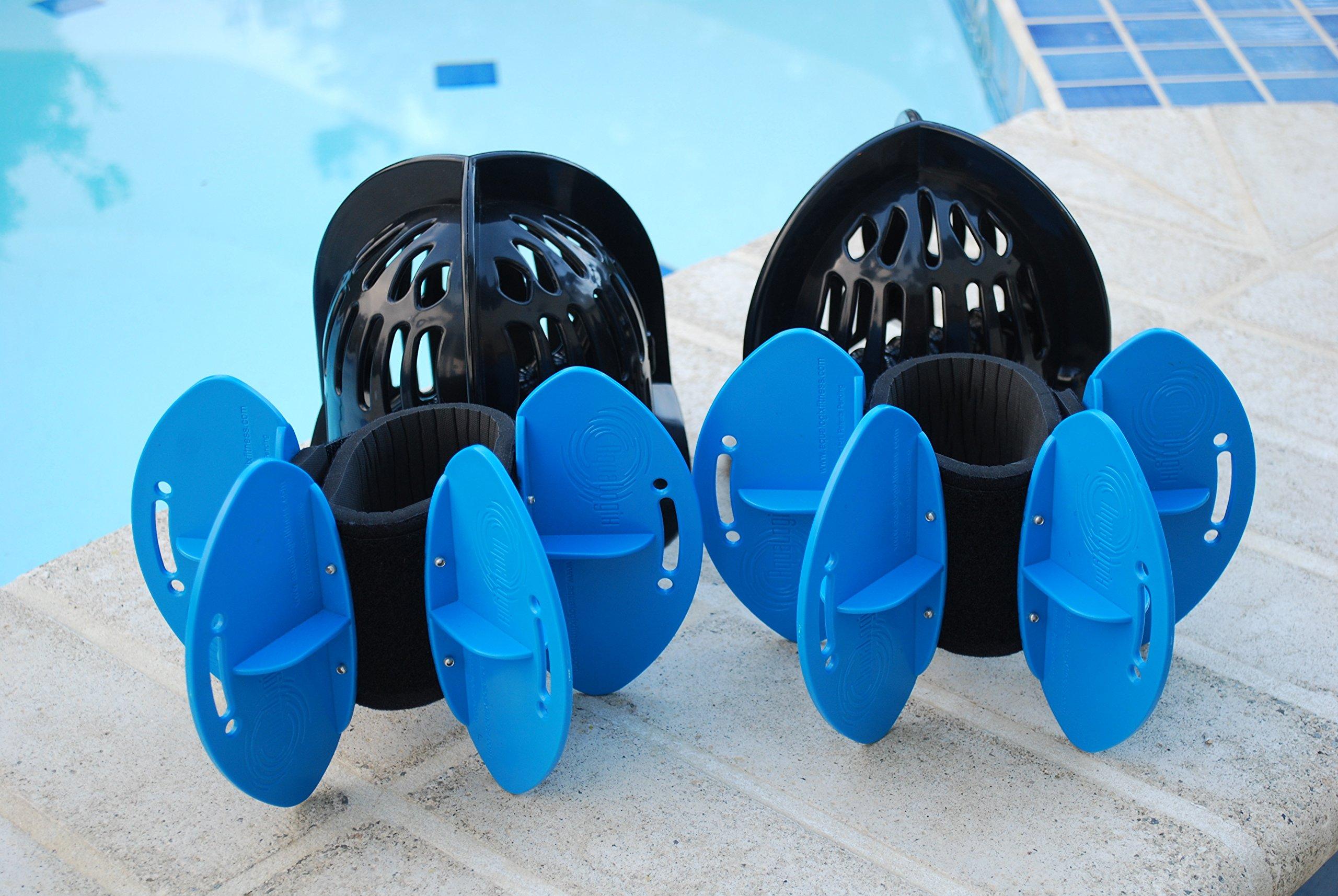AquaLogix Total Body Aquatic Exercise System - Includes Online Demonstration Video (All Purpose Black Bells/Maximum Resistance Blue Fins) by AquaLogix