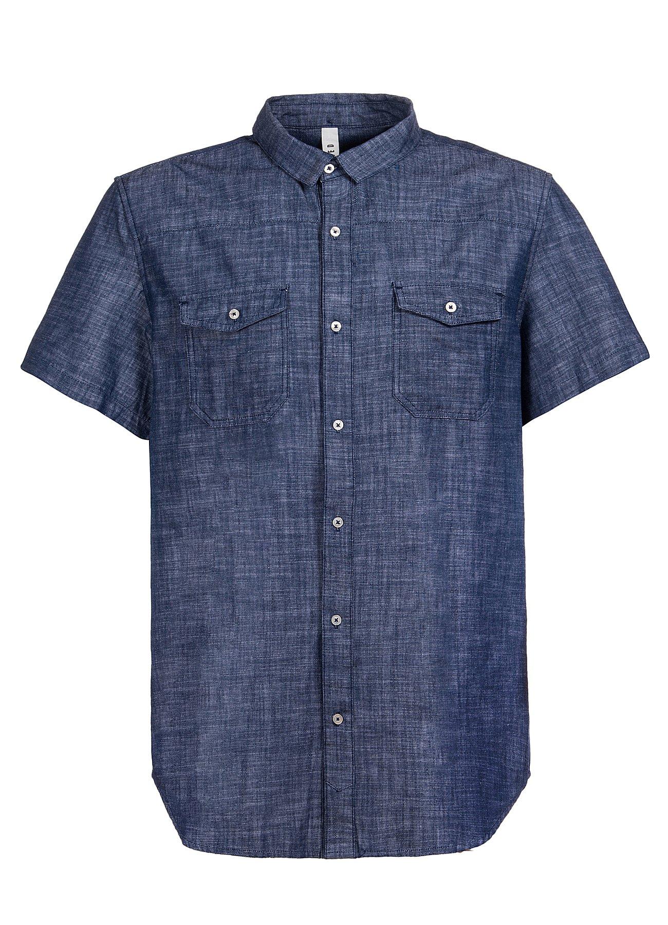 DISTILLED Men's Vintage Short Sleeve Button Down Denim Western Shirt