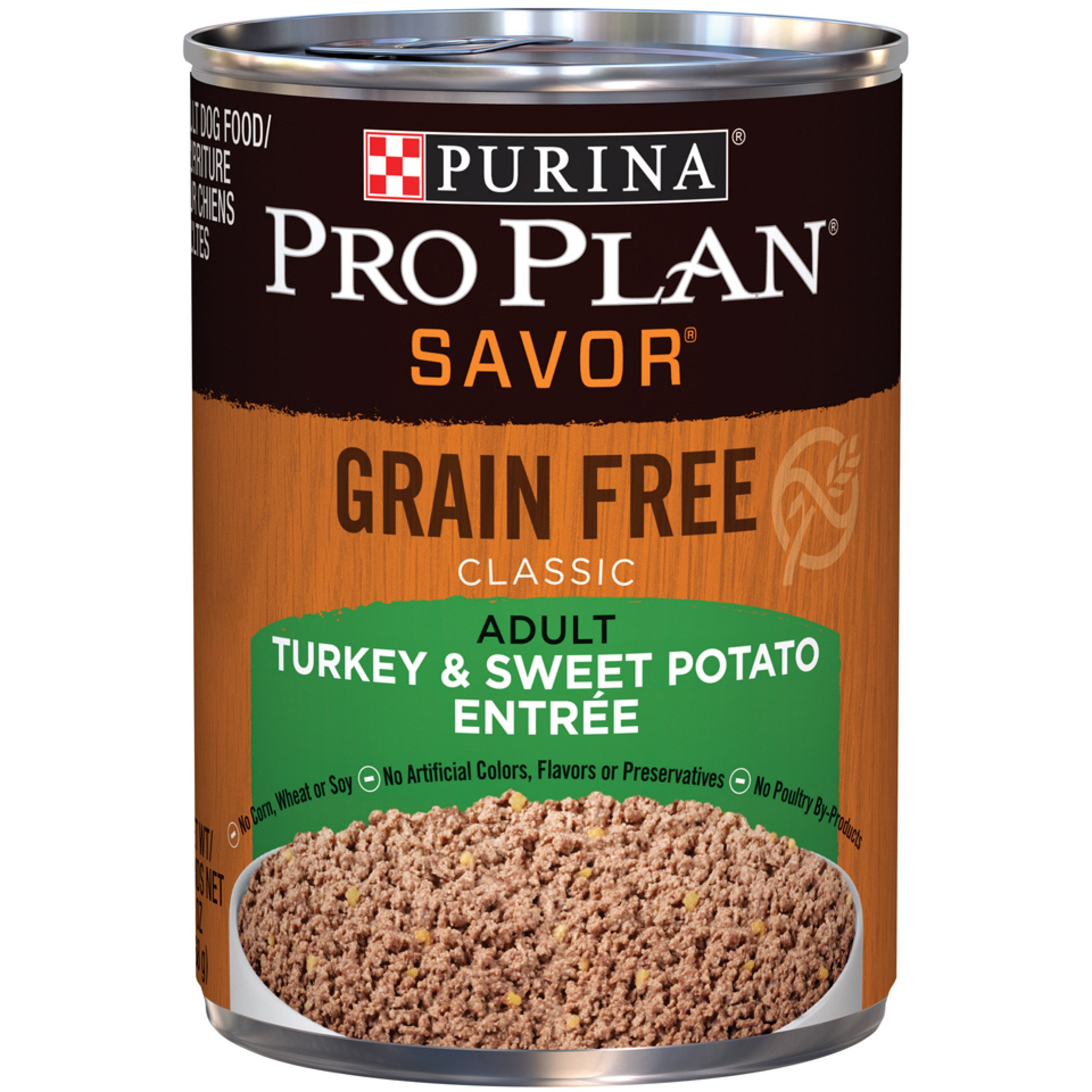 Purina Pro Plan Grain Free Pate Wet Dog Food, SAVOR Grain Free Turkey & Sweet Potato Entree - (12) 13 oz. Cans