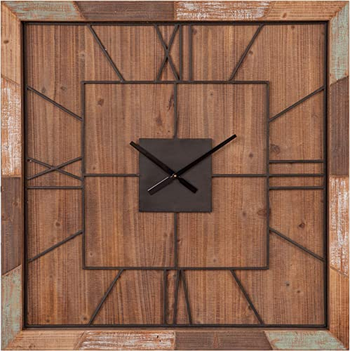 40 Oversized Square Distressed Wood Plank and Metal Square Wall Clock