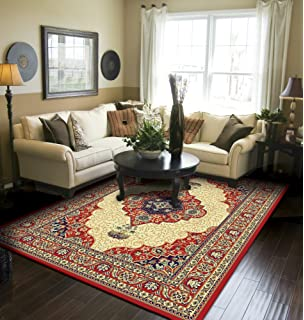 Amazon.com: Large 8x11 Area Rug For Living Room Red 8x10 ...