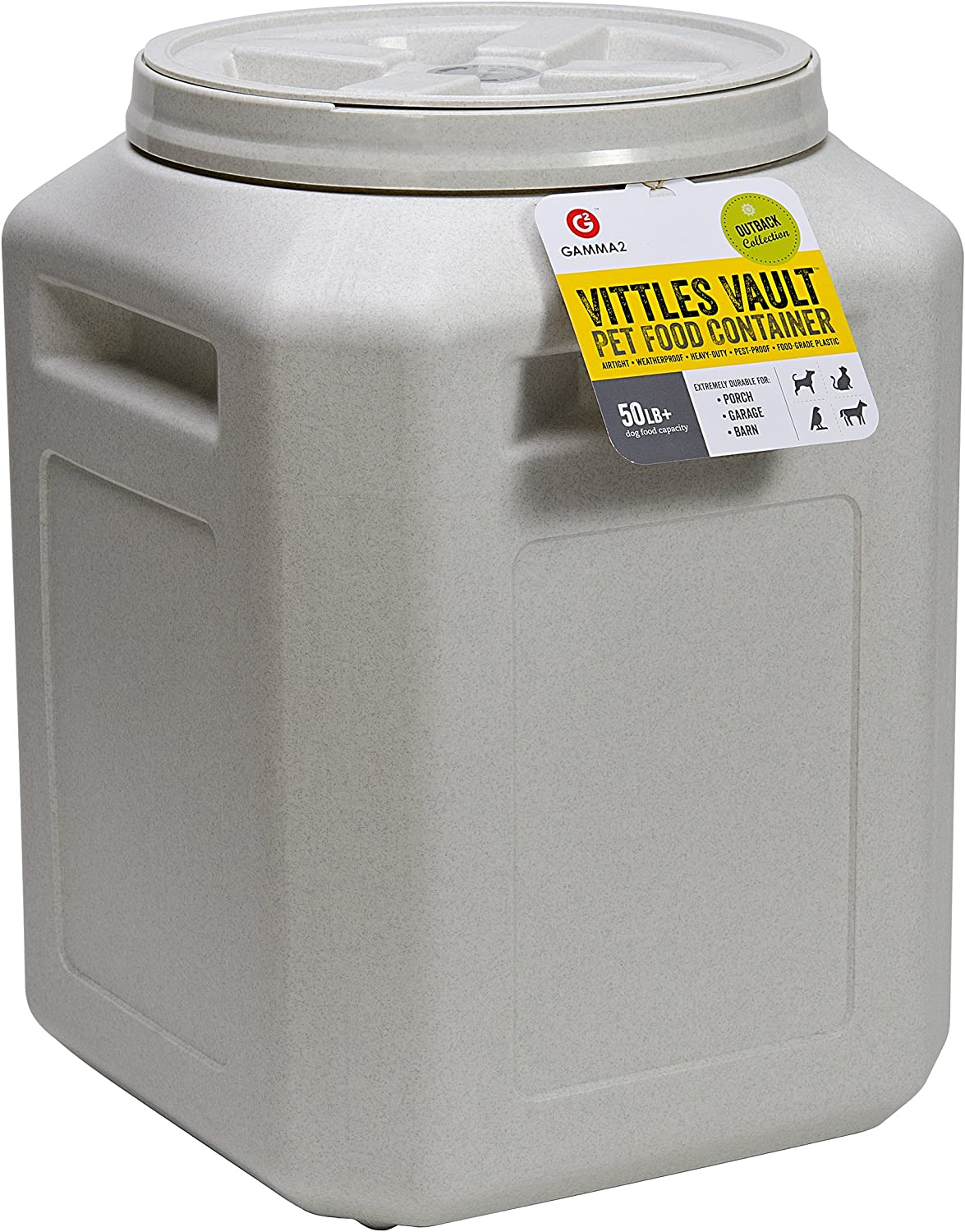 Gamma2 Vittles Vault Outback 50 lb Airtight Pet Food Storage Container, Warm Granite: Grocery & Gourmet Food
