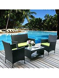 merax 4 pc rattan patio furniture set outdoor patio cushioned seat wicker sofa green cushion - Rattan Garden Furniture L Shape