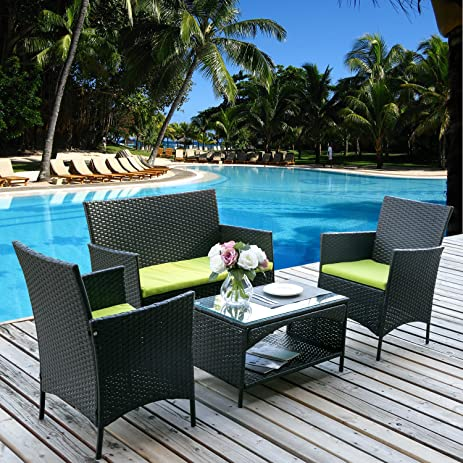 Amazon Merax 4 PC Rattan Patio Furniture Set Outdoor Patio