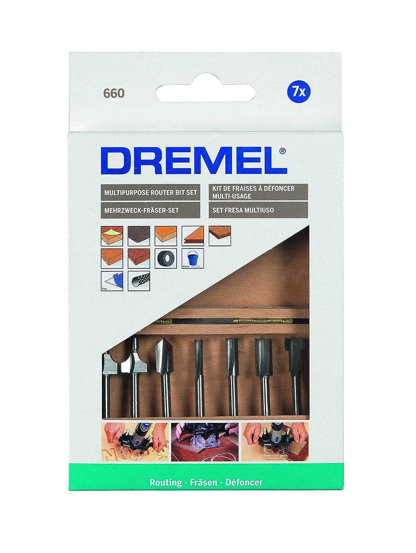 Gris Dremel 26150660JA 660 Coffret de 7 fraises /à d/éfoncer