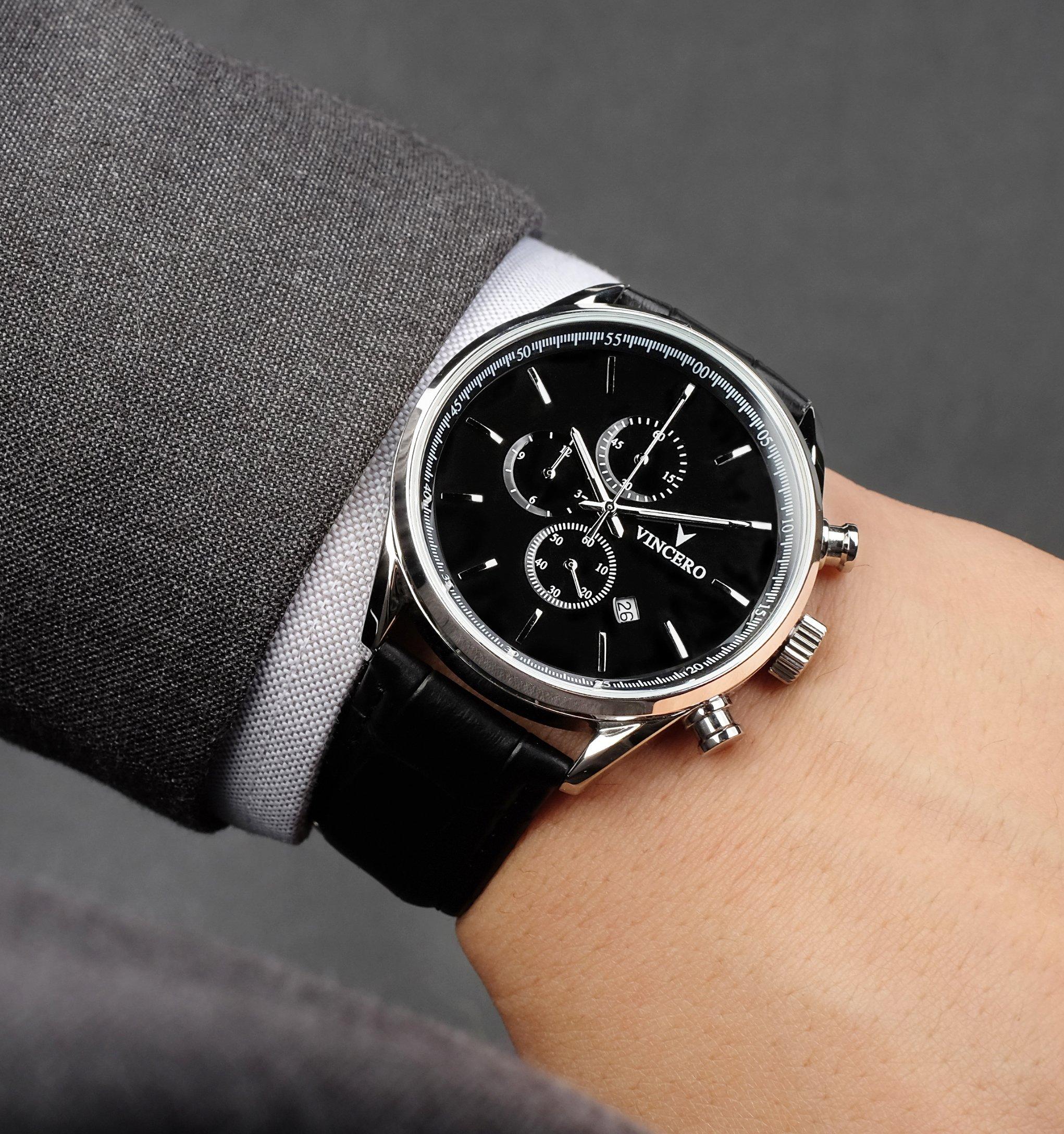 Vincero Luxury Men's Chrono S Wrist Watch — Black/Silver with Black Leather Watch Band — 43mm Chronograph Watch — Japanese Quartz Movement