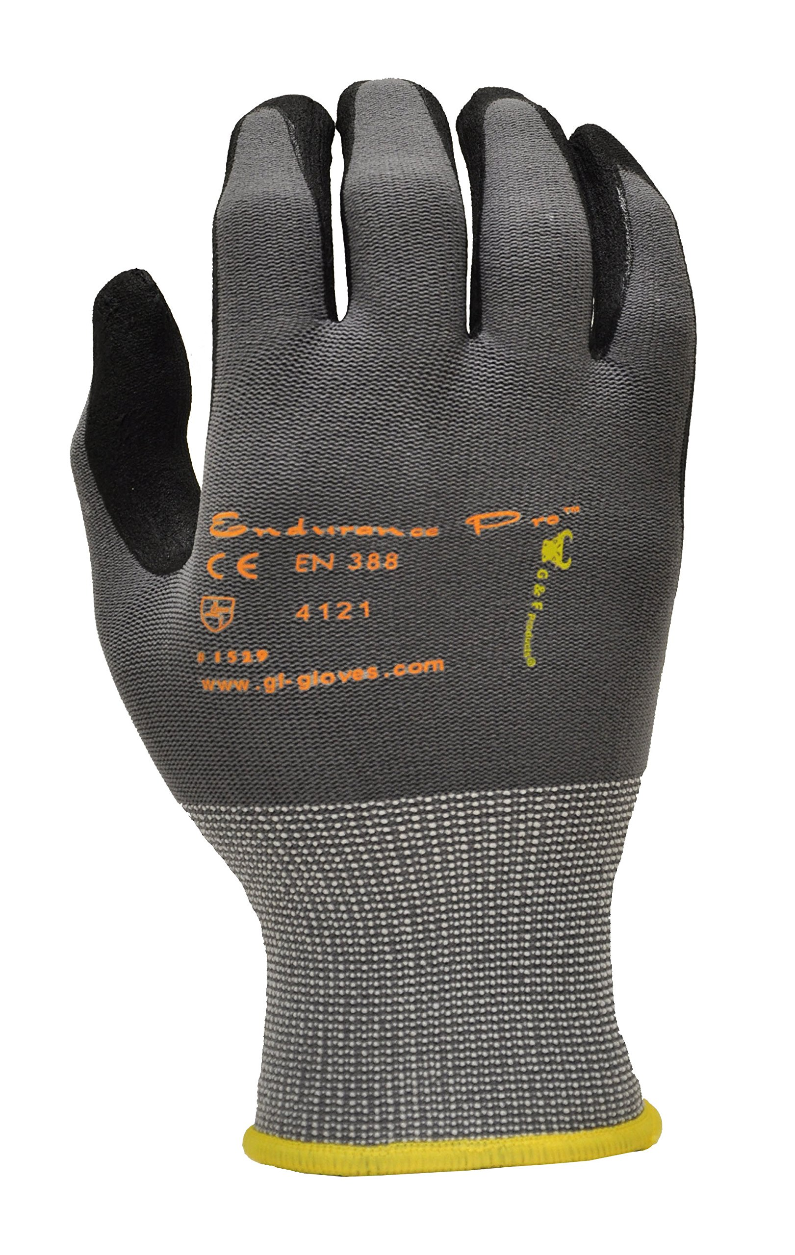 MicroFoam Nitrile Coated Work Gloves for General Purposes, Lightweight Work Gloves, 12 Pair Pack, Large by G & F Products