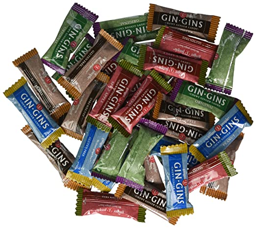 The Ginger People Gin Gins Chewy Ginger Candy 4-Flavor Variety: One 2 lb Assorted Bag of Original, Peanut, Hot Coffee, and Spicy Apple