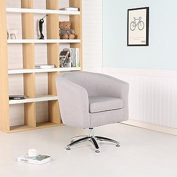 Premium Stoff Swivel Tub Stuhl Sessel Esszimmer Wohnzimmer Büro Hellgrau