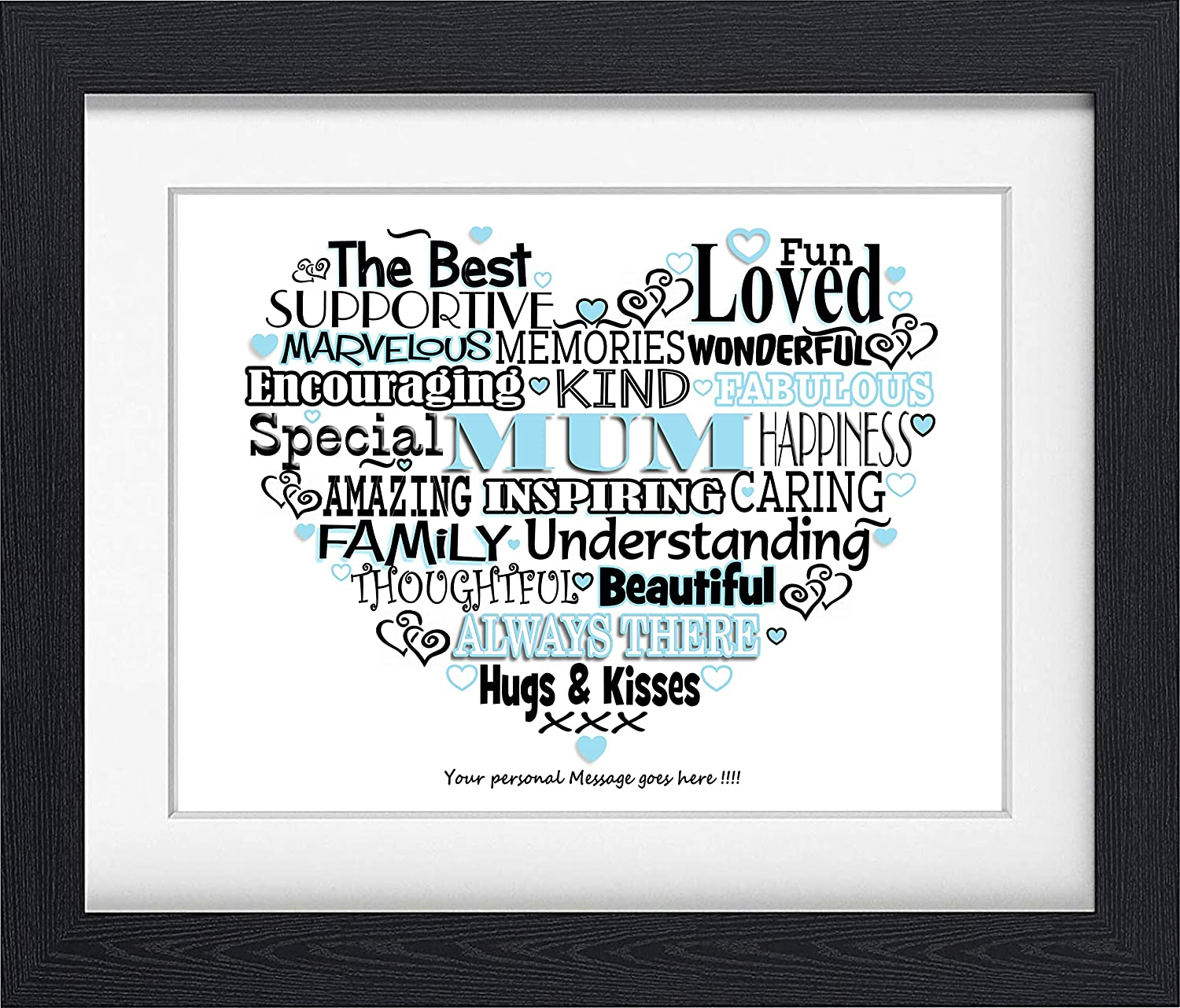 MOTHERS DAY MUM KISSING CHILD PERSONALISED A4 WORD ART PRINT GIFT BEST PRESENT