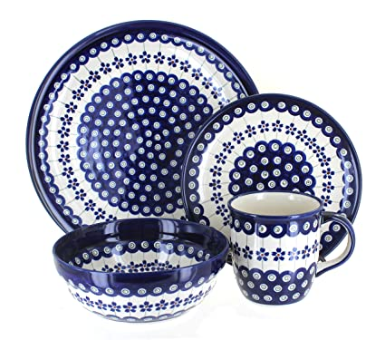 Polish Pottery Flowering Peacock 16 Piece Dinner Set  sc 1 st  Amazon.com : polish dinnerware sets - Pezcame.Com