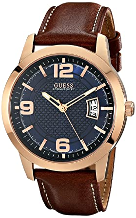 c1df40fc4 Image Unavailable. Image not available for. Color: GUESS Men's Stainless  Steel Leather Watch ...