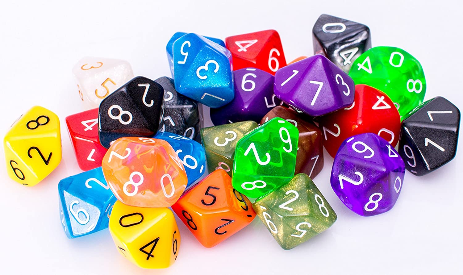25 Count Assorted Pack of 10 Sided Dice - Multi Colored Assortment of D10 Polyhedral Dice Easy Roller Dice Company
