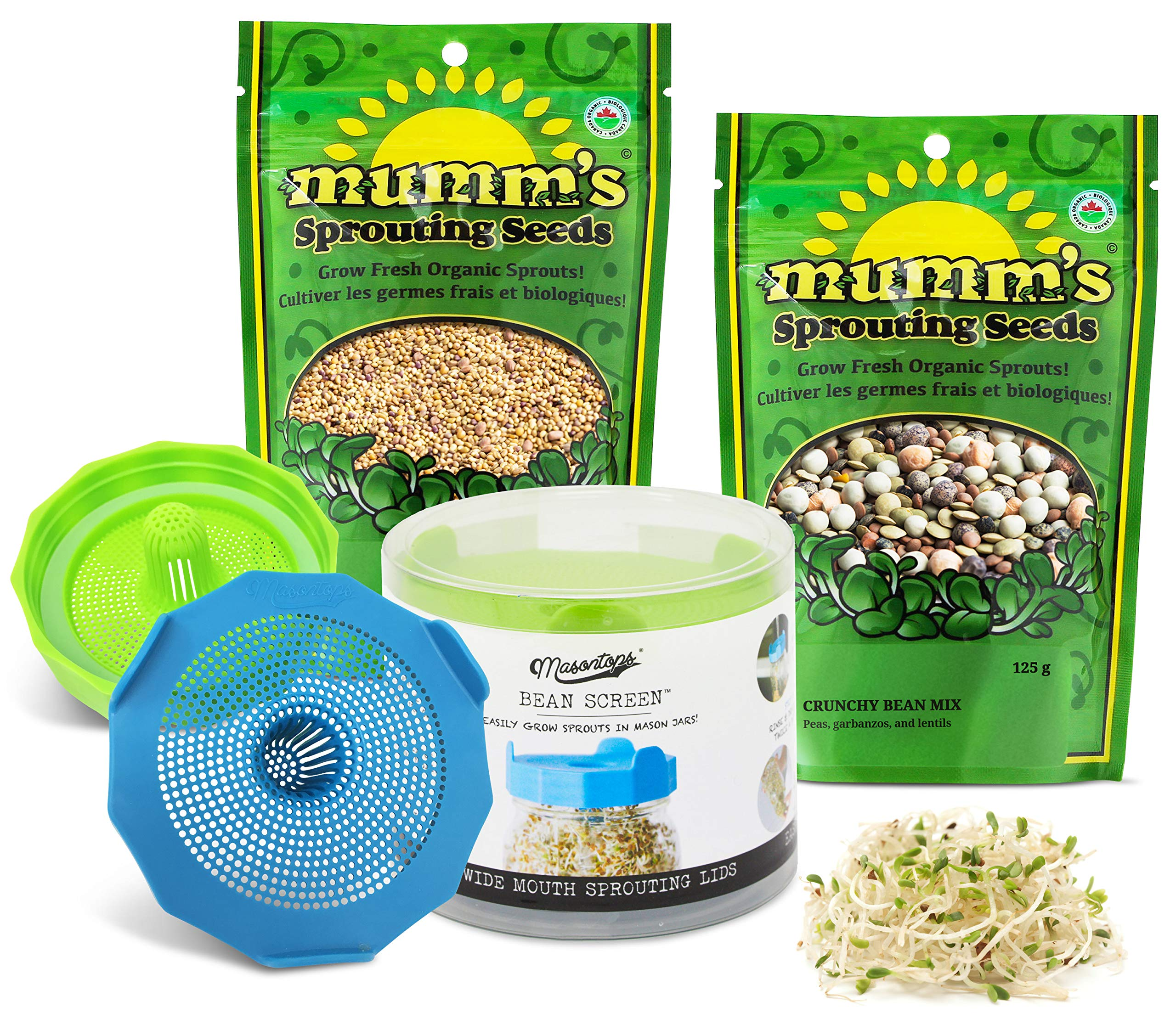 Masontops Bean Sprouting Bundle - 2 Bean Screen Sprouting Lids & 2 Sprout Seed Mixes - Wide Mouth Mason Jar Strainer by Masontops