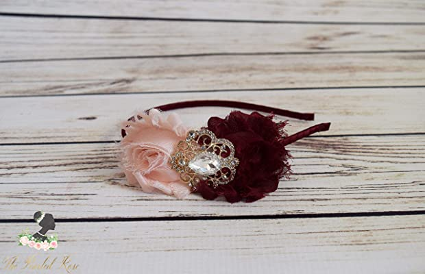Romantic Blush Burgundy Headband - Adult Headband - Bridesmaid Headband - Blush Wine Wedding Headpiece - Toddler Headband - Shabby Flowers