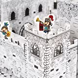 Fat Catalog DIY Mini Castle Kit- Cardboard Coloring Kit Corrugated, White/Black