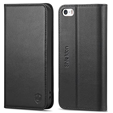save off b4f81 dcda6 iPhone SE Leather Case, SHIELDON iPhone 5s Case, iPhone 5S Genuine Leather  Wallet Case with[TPU Inner Shell][Kickstand] [Card Holder][Magnetic ...