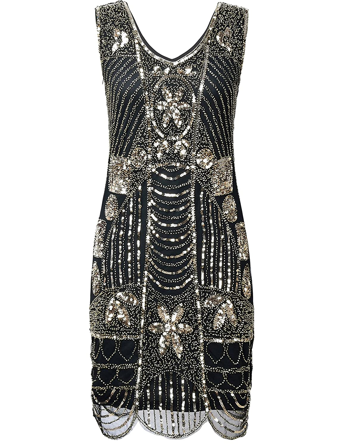 Vintage Inspired Halloween Costumes 1920s Gatsby Sequin Art Deco Scalloped Hem Cocktail Flapper Dress $45.99 AT vintagedancer.com